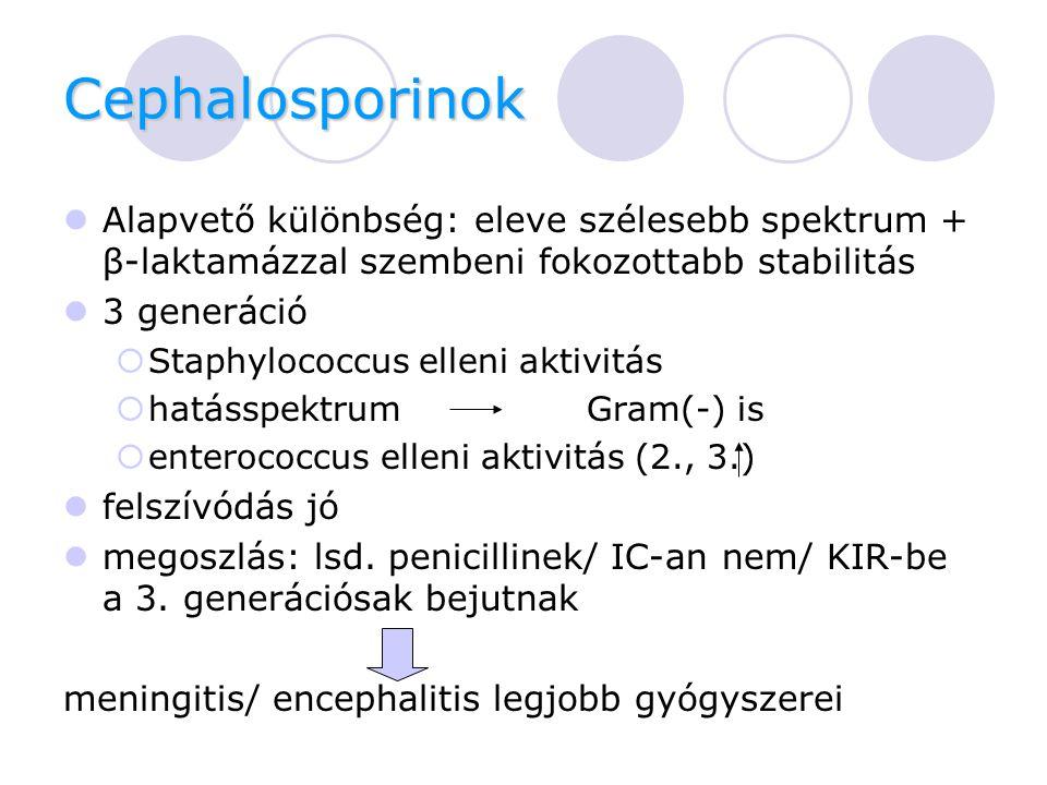 Cephalosporinok Alapvető különbség: eleve szélesebb spektrum + β-laktamázzal szembeni fokozottabb stabilitás.