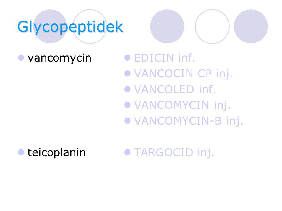 Glycopeptidek vancomycin teicoplanin EDICIN inf. VANCOCIN CP inj.
