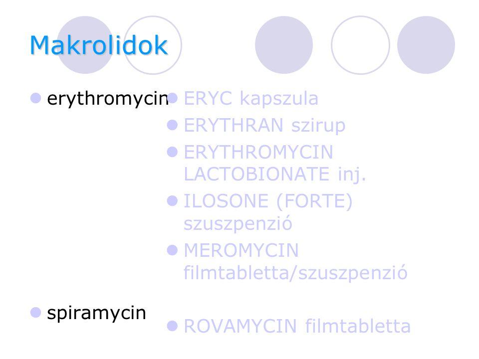 Makrolidok erythromycin spiramycin ERYC kapszula ERYTHRAN szirup