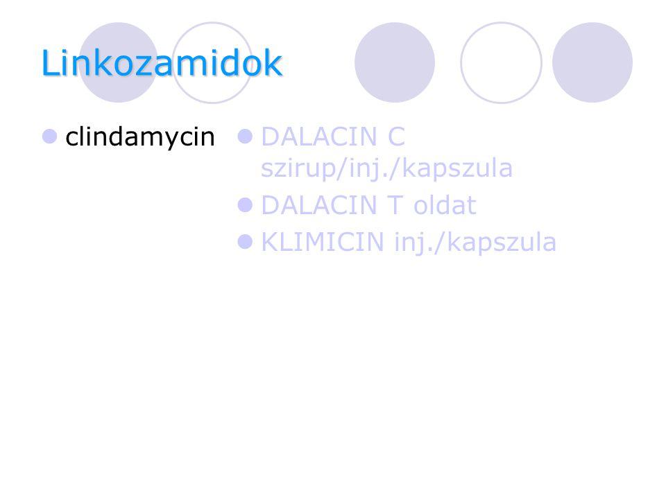 Linkozamidok clindamycin DALACIN C szirup/inj./kapszula