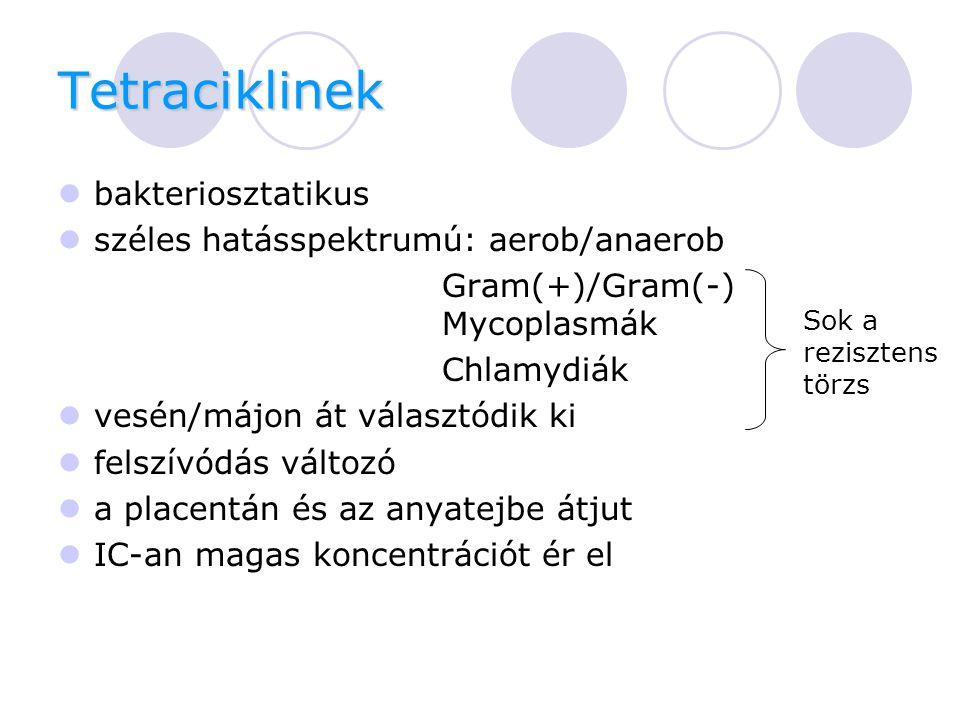 Tetraciklinek bakteriosztatikus széles hatásspektrumú: aerob/anaerob