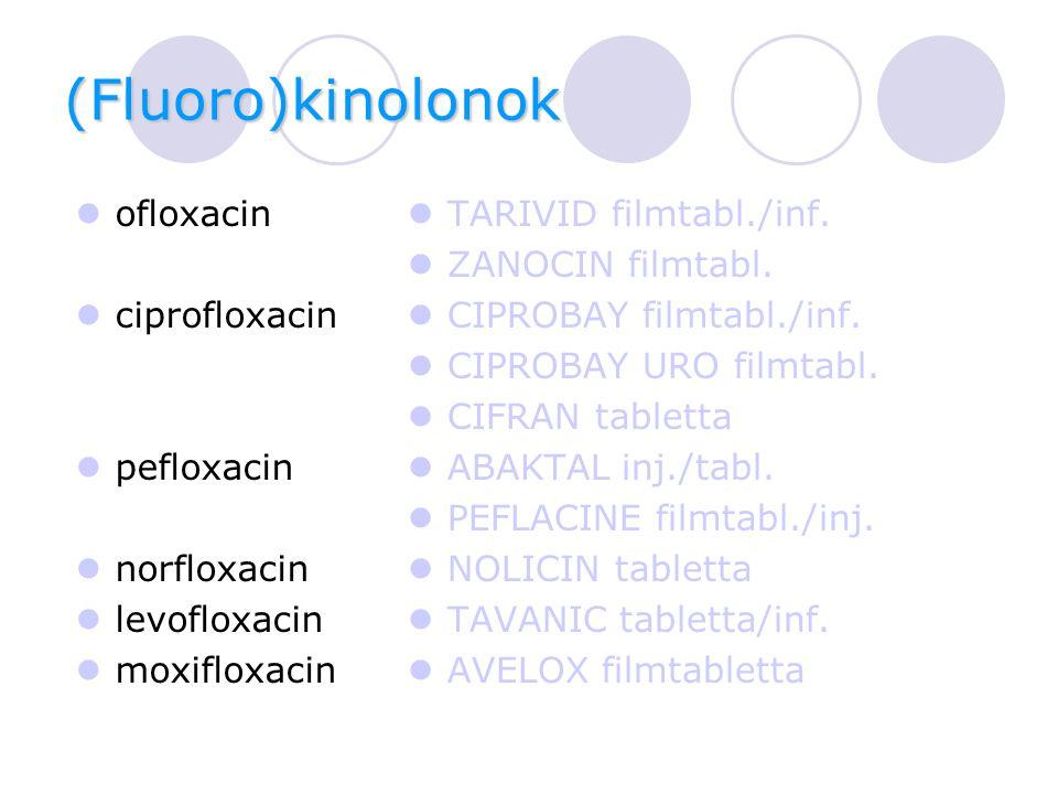 (Fluoro)kinolonok ofloxacin ciprofloxacin pefloxacin norfloxacin