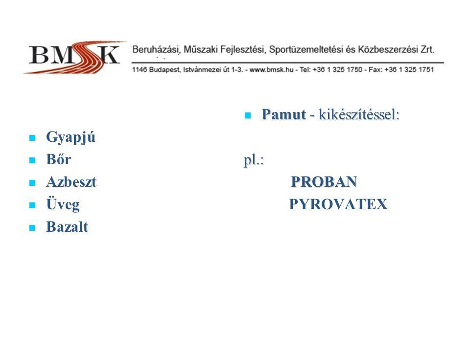Gyapjú Bőr Azbeszt Üveg Bazalt Pamut - kikészítéssel: pl.: PROBAN PYROVATEX