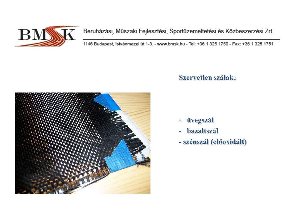 Szervetlen szálak: - üvegszál - bazaltszál - szénszál (előoxidált)