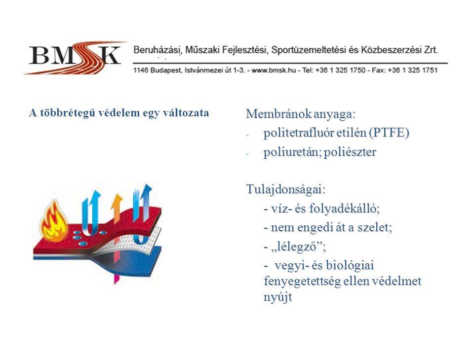 politetrafluór etilén (PTFE) poliuretán; poliészter Tulajdonságai: