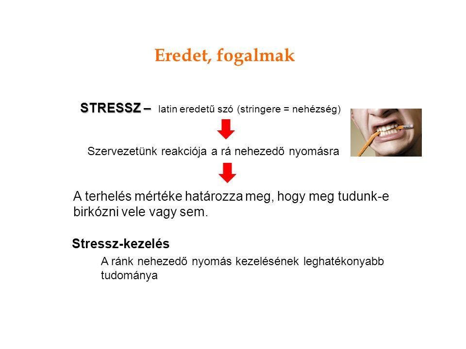 Eredet, fogalmak STRESSZ – latin eredetű szó (stringere = nehézség)