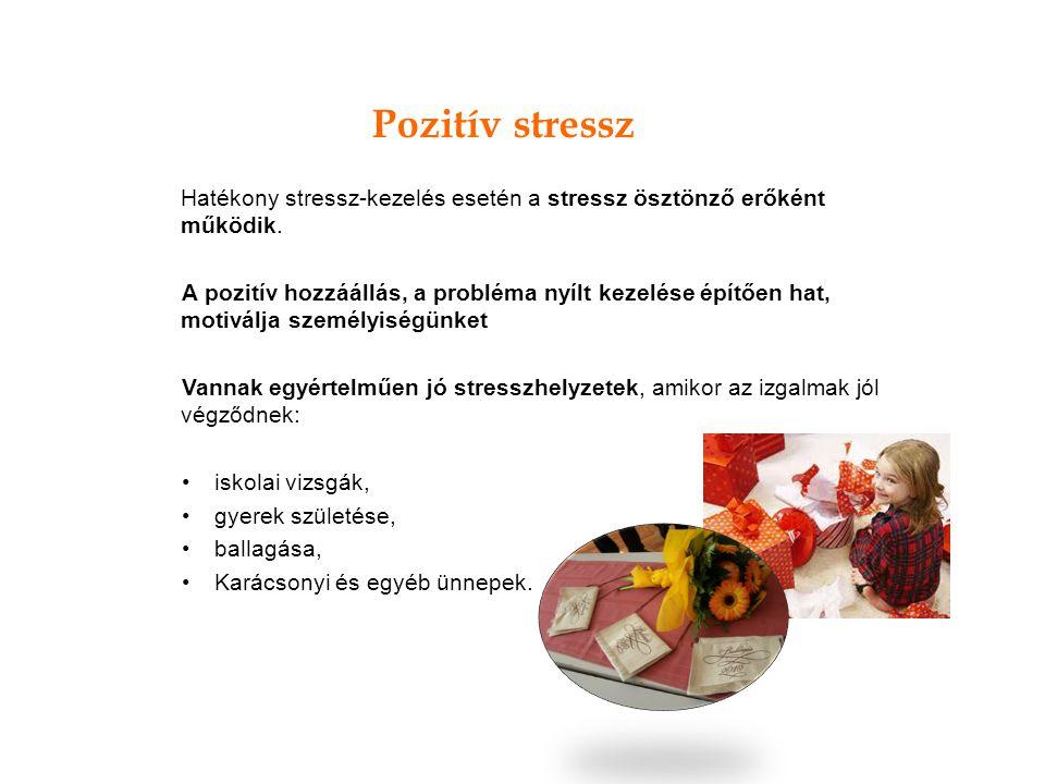 Pozitív stressz Hatékony stressz-kezelés esetén a stressz ösztönző erőként működik.