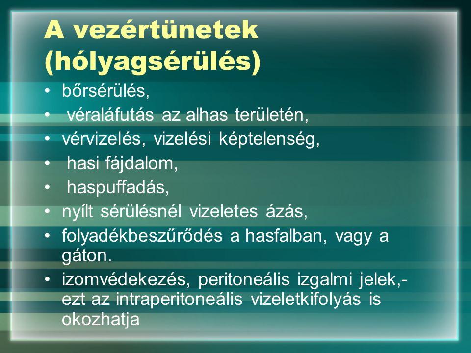 A vezértünetek (hólyagsérülés)