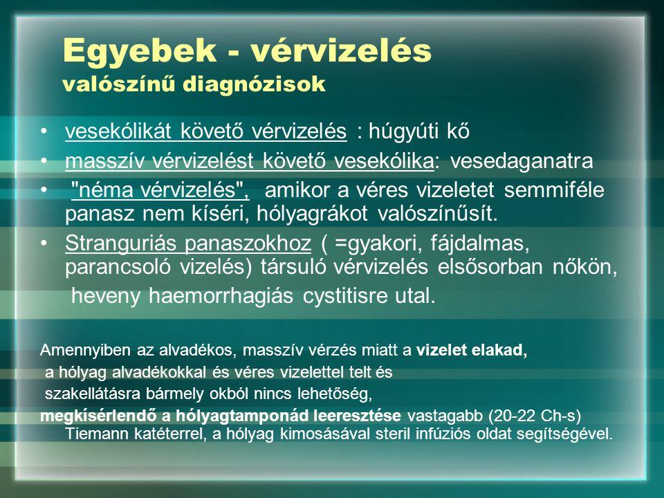 Egyebek - vérvizelés valószínű diagnózisok