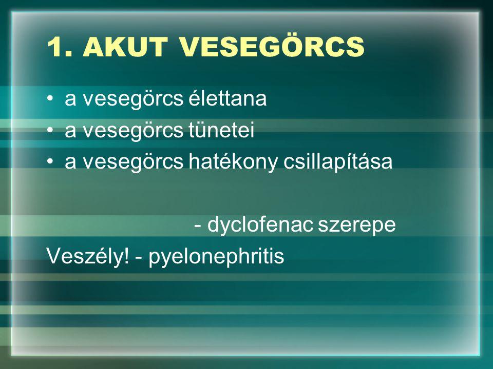1. AKUT VESEGÖRCS a vesegörcs élettana a vesegörcs tünetei