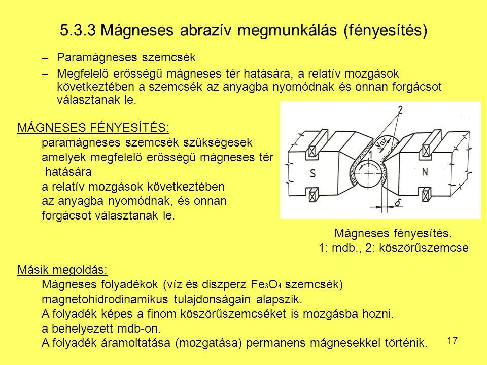 5.3.3 Mágneses abrazív megmunkálás (fényesítés)