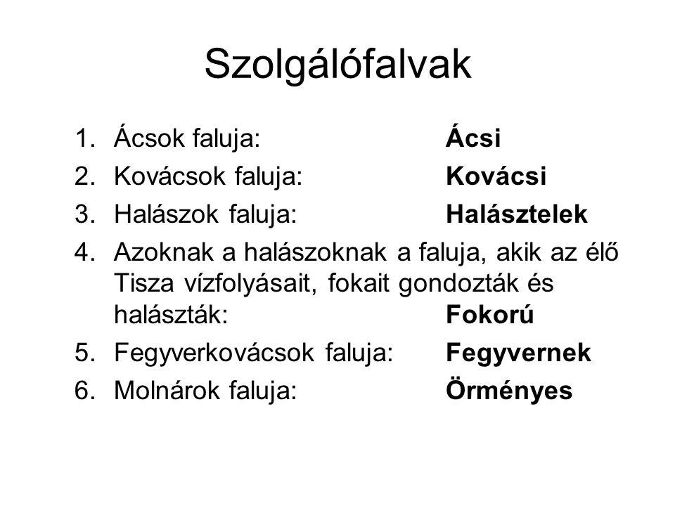 Szolgálófalvak Ácsok faluja: Ácsi Kovácsok faluja: Kovácsi