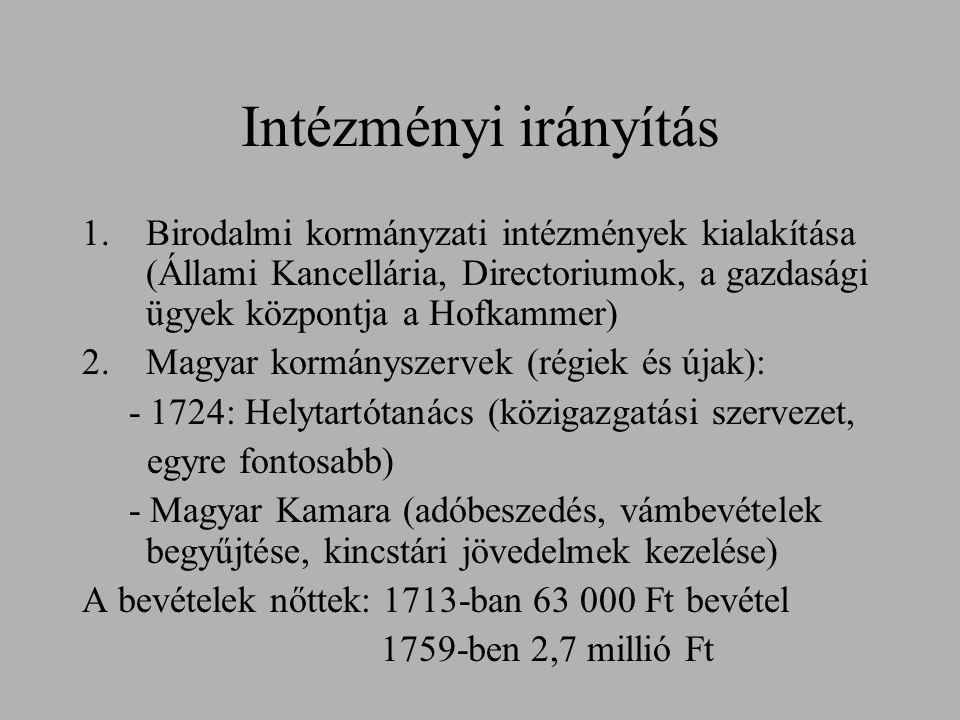 Intézményi irányítás Birodalmi kormányzati intézmények kialakítása (Állami Kancellária, Directoriumok, a gazdasági ügyek központja a Hofkammer)