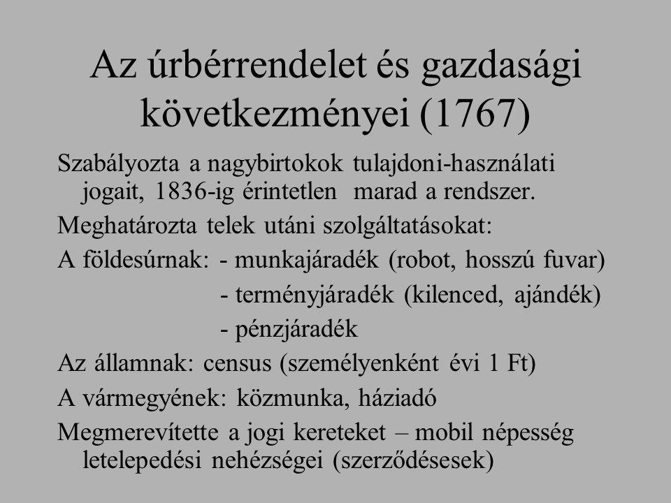 Az úrbérrendelet és gazdasági következményei (1767)