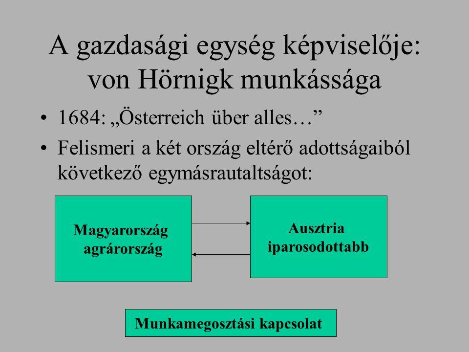 A gazdasági egység képviselője: von Hörnigk munkássága