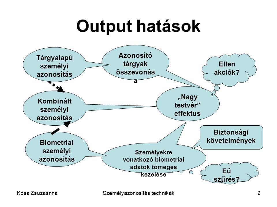 Output hatások Azonosító tárgyak összevonása