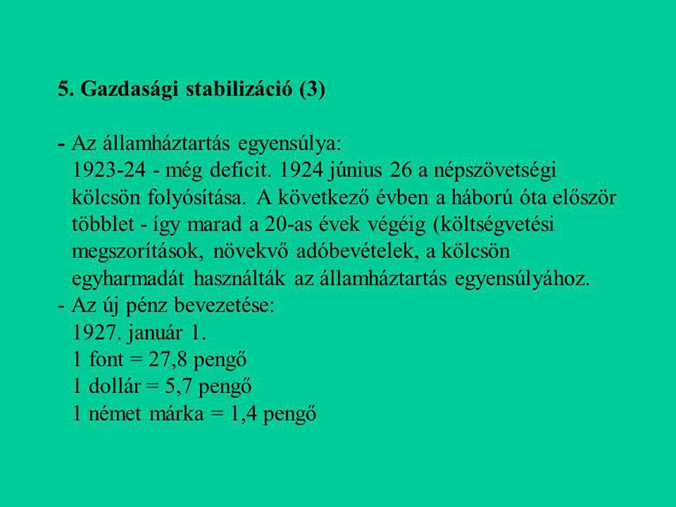 5. Gazdasági stabilizáció (3) - Az államháztartás egyensúlya: