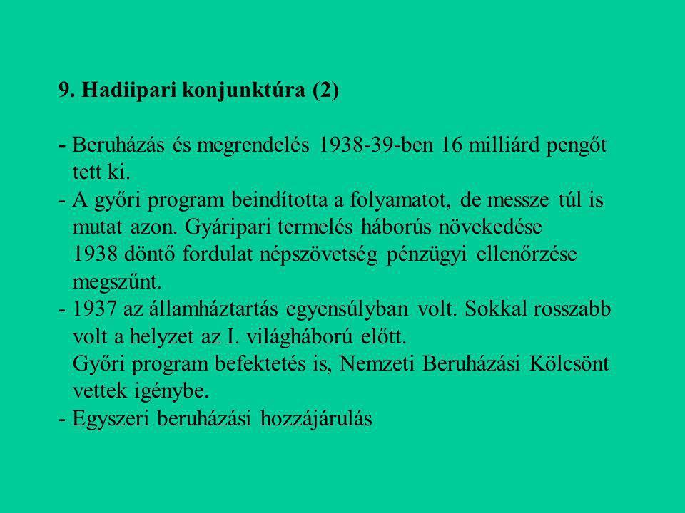 9. Hadiipari konjunktúra (2) - Beruházás és megrendelés 1938-39-ben 16 milliárd pengőt tett ki.