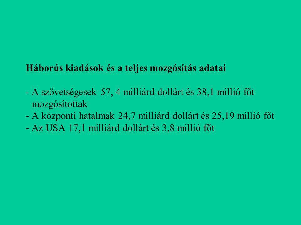 Háborús kiadások és a teljes mozgósítás adatai - A szövetségesek 57, 4 milliárd dollárt és 38,1 millió főt mozgósítottak - A központi hatalmak 24,7 milliárd dollárt és 25,19 millió főt - Az USA 17,1 milliárd dollárt és 3,8 millió főt