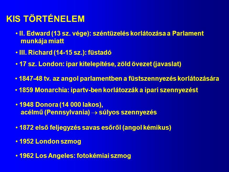 KIS TÖRTÉNELEM II. Edward (13 sz. vége): széntüzelés korlátozása a Parlament. munkája miatt. III. Richard (14-15 sz.): füstadó.