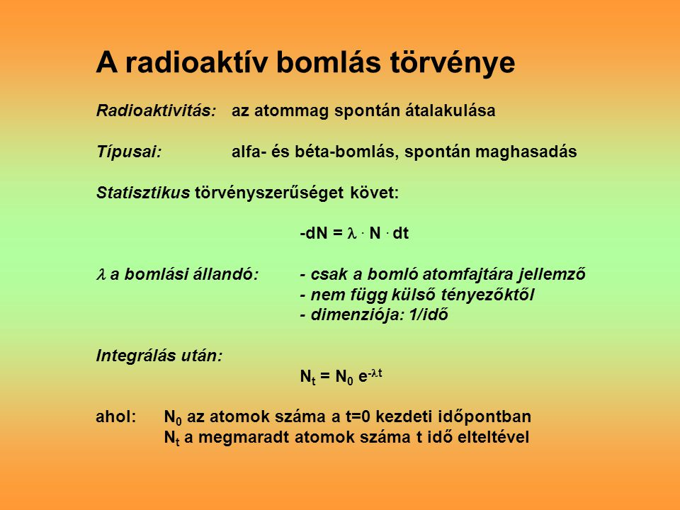 A radioaktív bomlás törvénye