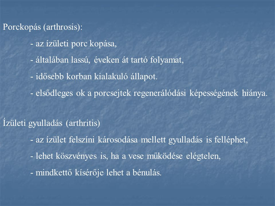 Porckopás (arthrosis):
