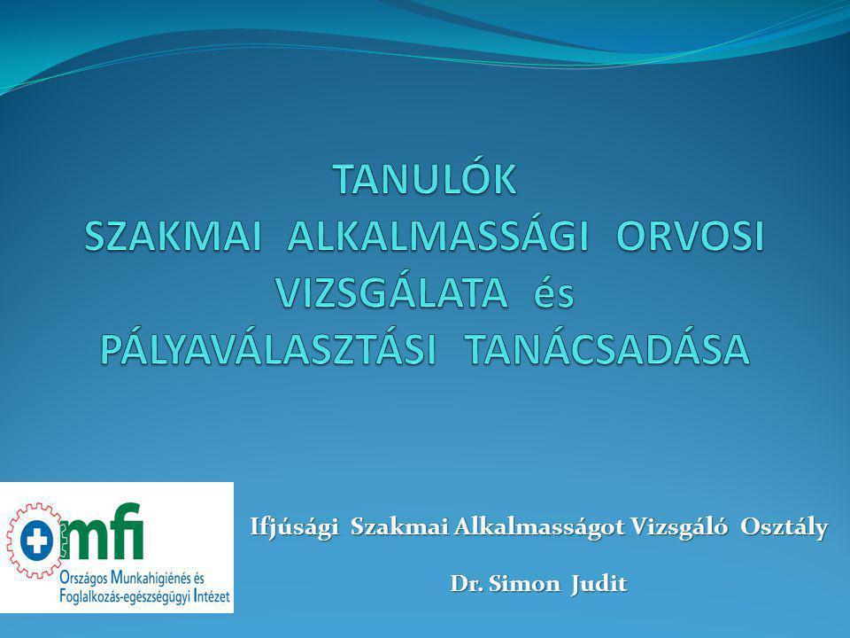 Ifjúsági Szakmai Alkalmasságot Vizsgáló Osztály Dr. Simon Judit
