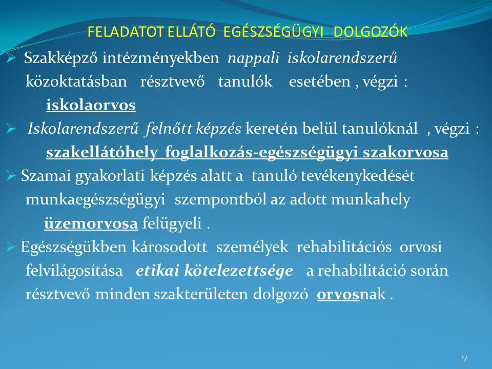 FELADATOT ELLÁTÓ EGÉSZSÉGÜGYI DOLGOZÓK