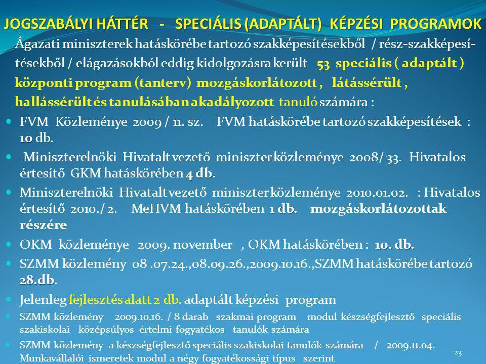 JOGSZABÁLYI HÁTTÉR - SPECIÁLIS (ADAPTÁLT) KÉPZÉSI PROGRAMOK