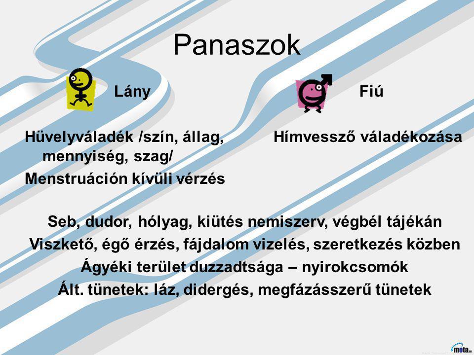 Panaszok Lány Hüvelyváladék /szín, állag, mennyiség, szag/