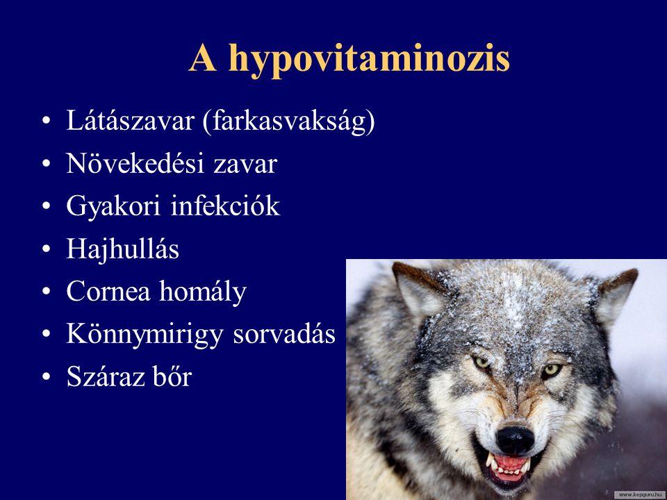 A hypovitaminozis Látászavar (farkasvakság) Növekedési zavar