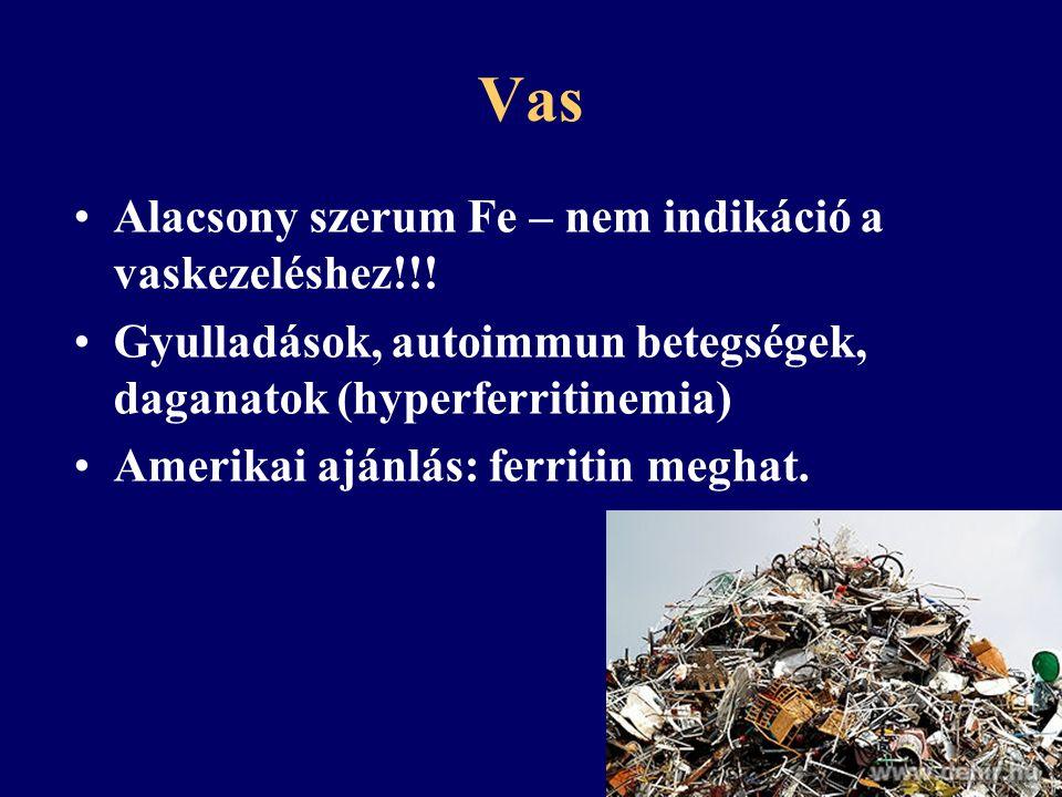 Vas Alacsony szerum Fe – nem indikáció a vaskezeléshez!!!