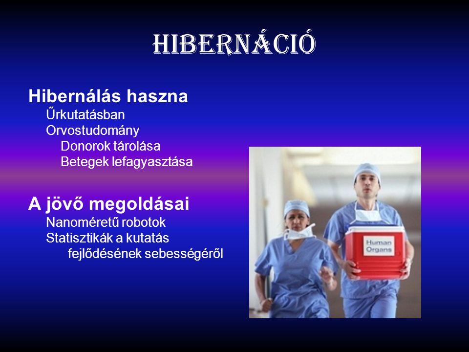 Hibernáció Hibernálás haszna Űrkutatásban Orvostudomány Donorok tárolása Betegek lefagyasztása.