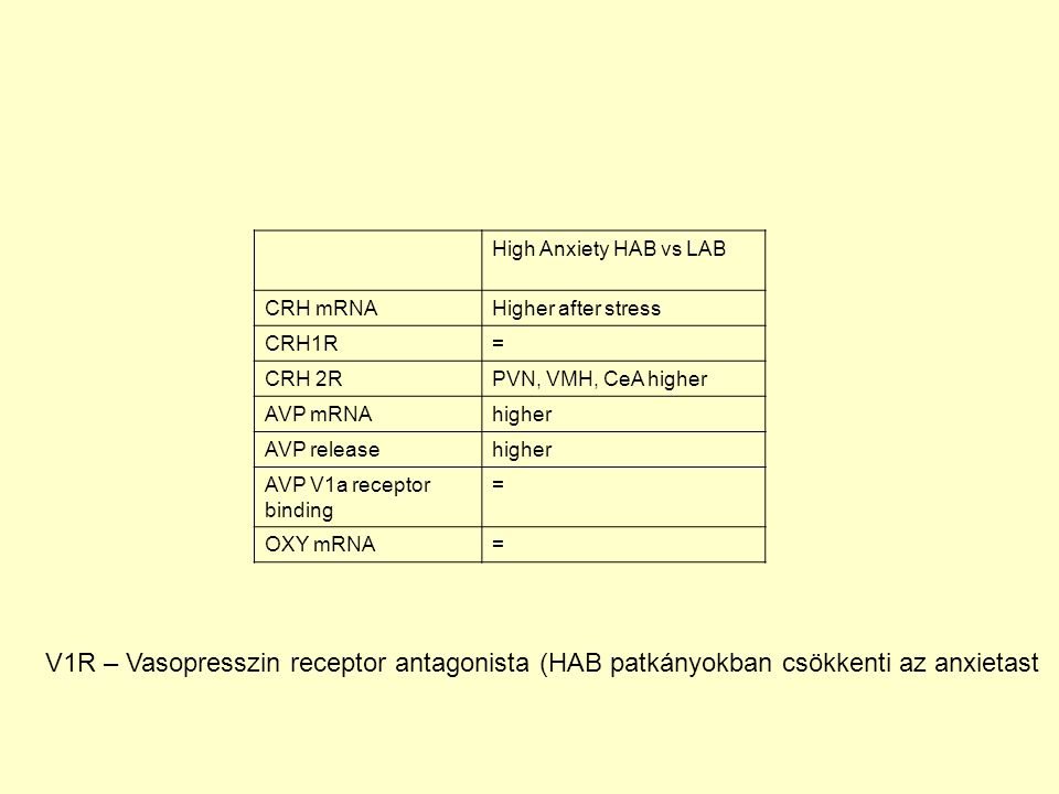 High Anxiety HAB vs LAB CRH mRNA. Higher after stress. CRH1R. = CRH 2R. PVN, VMH, CeA higher. AVP mRNA.