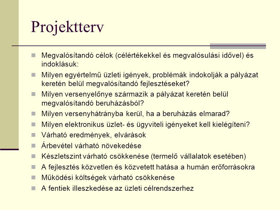 Projektterv Megvalósítandó célok (célértékekkel és megvalósulási idővel) és indoklásuk:
