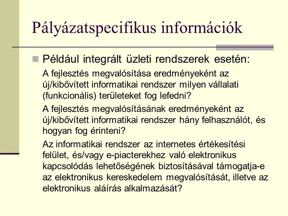 Pályázatspecifikus információk
