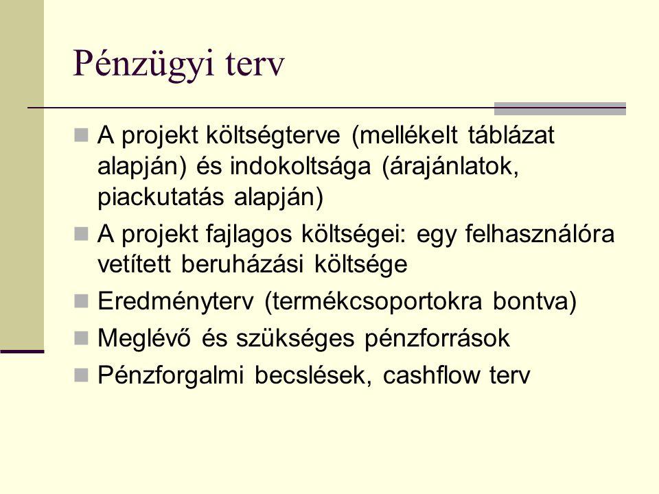Pénzügyi terv A projekt költségterve (mellékelt táblázat alapján) és indokoltsága (árajánlatok, piackutatás alapján)