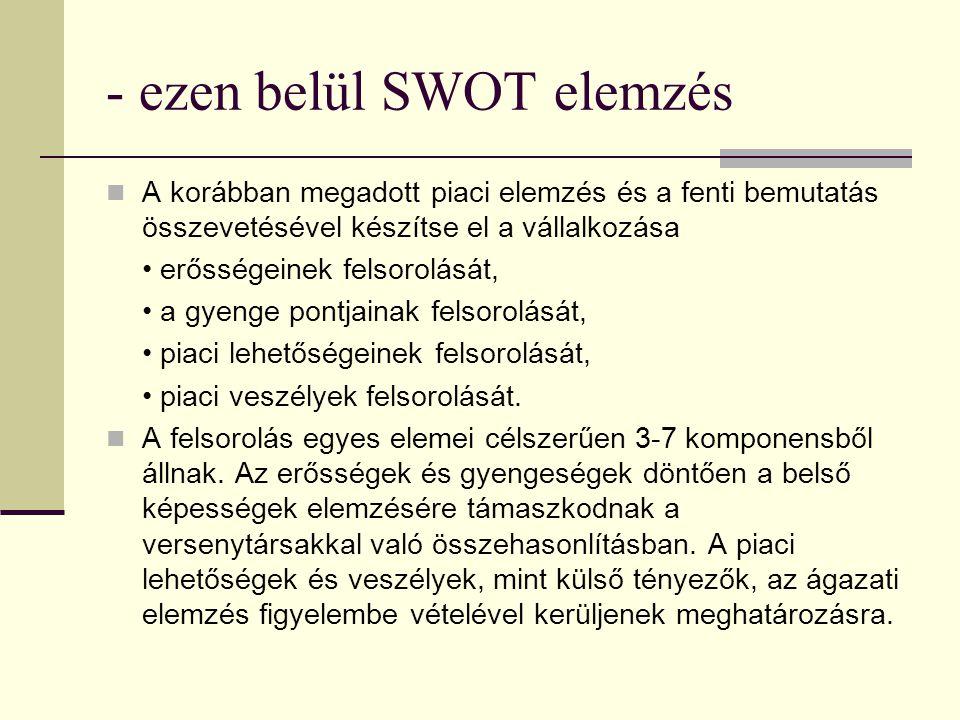 - ezen belül SWOT elemzés