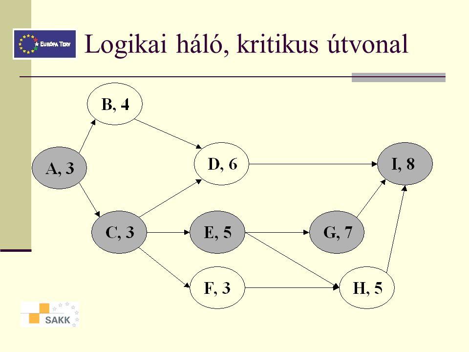 Logikai háló, kritikus útvonal