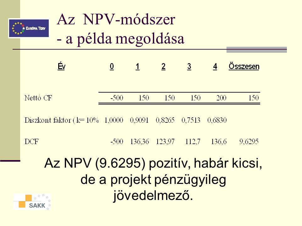 Az NPV-módszer - a példa megoldása