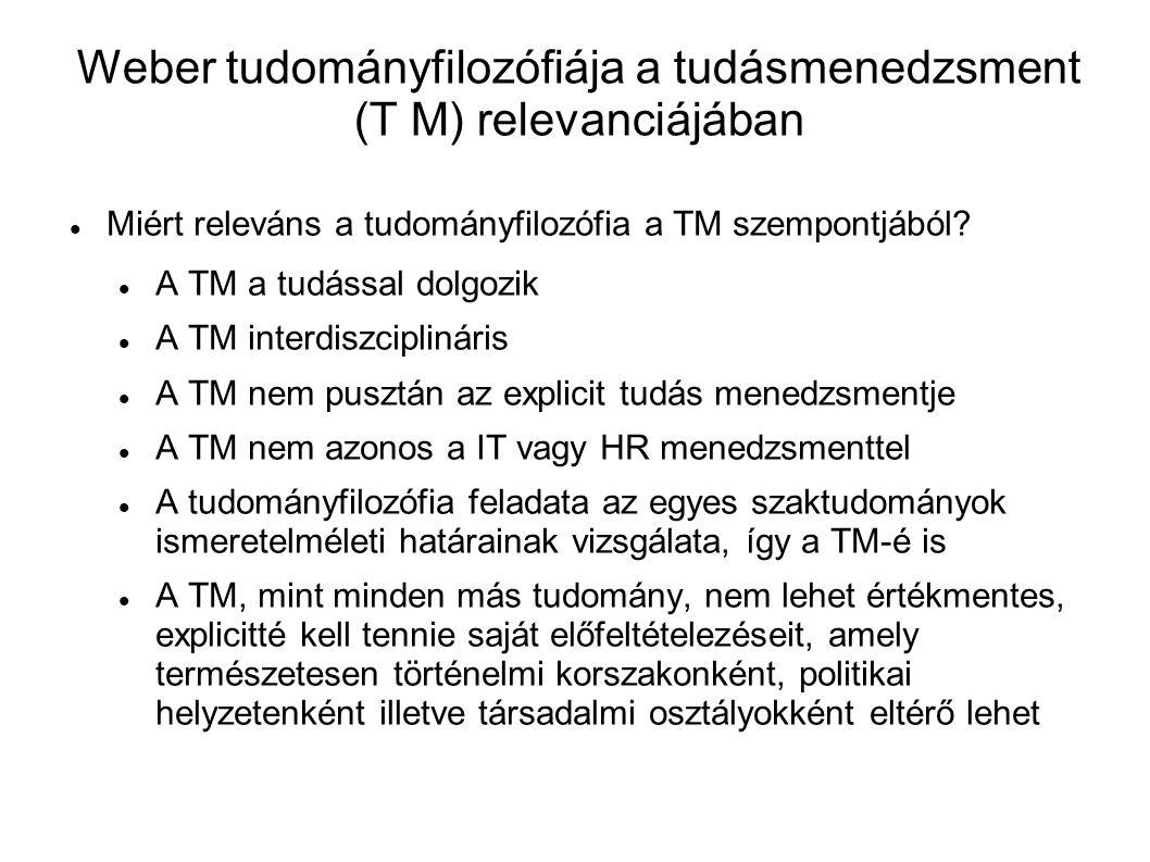 Weber tudományfilozófiája a tudásmenedzsment (T M) relevanciájában