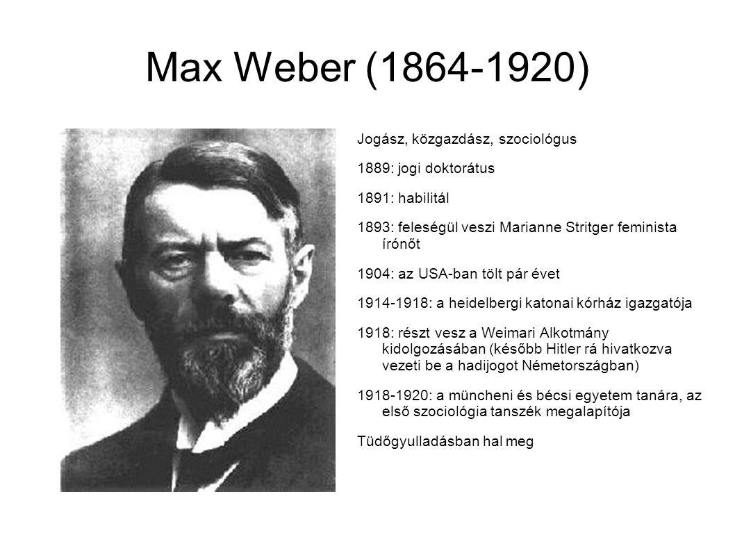 Max Weber (1864-1920) Jogász, közgazdász, szociológus