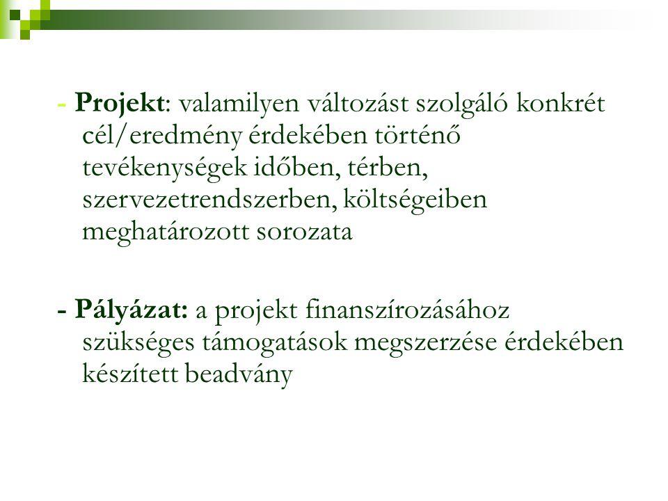 - Projekt: valamilyen változást szolgáló konkrét cél/eredmény érdekében történő tevékenységek időben, térben, szervezetrendszerben, költségeiben meghatározott sorozata