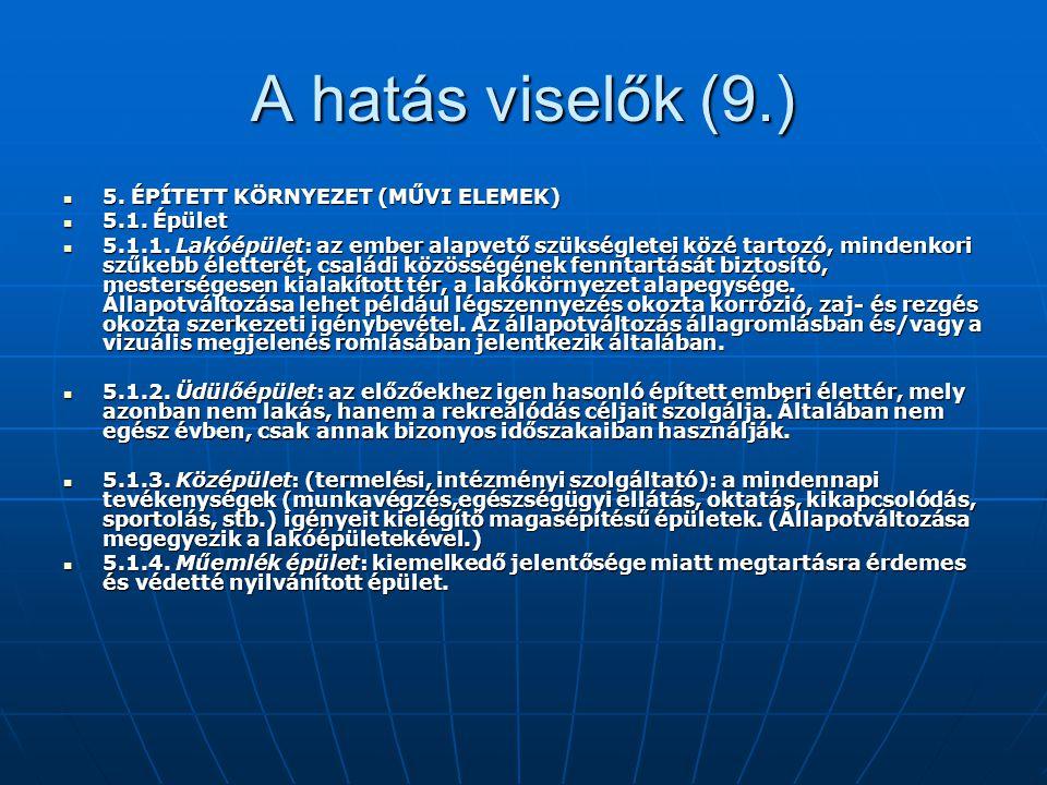 A hatás viselők (9.) 5. ÉPÍTETT KÖRNYEZET (MŰVI ELEMEK) 5.1. Épület