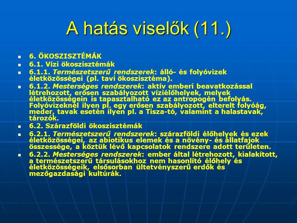 A hatás viselők (11.) 6. ÖKOSZISZTÉMÁK 6.1. Vízi ökoszisztémák