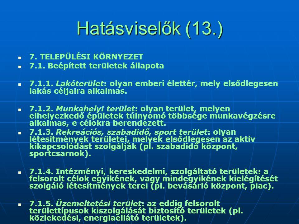 Hatásviselők (13.) 7. TELEPÜLÉSI KÖRNYEZET