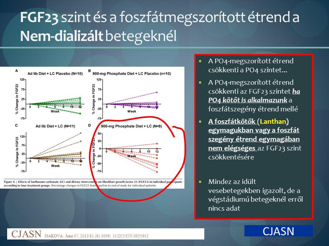 FGF23 szint és a foszfátmegszorított étrend a Nem-dializált betegeknél
