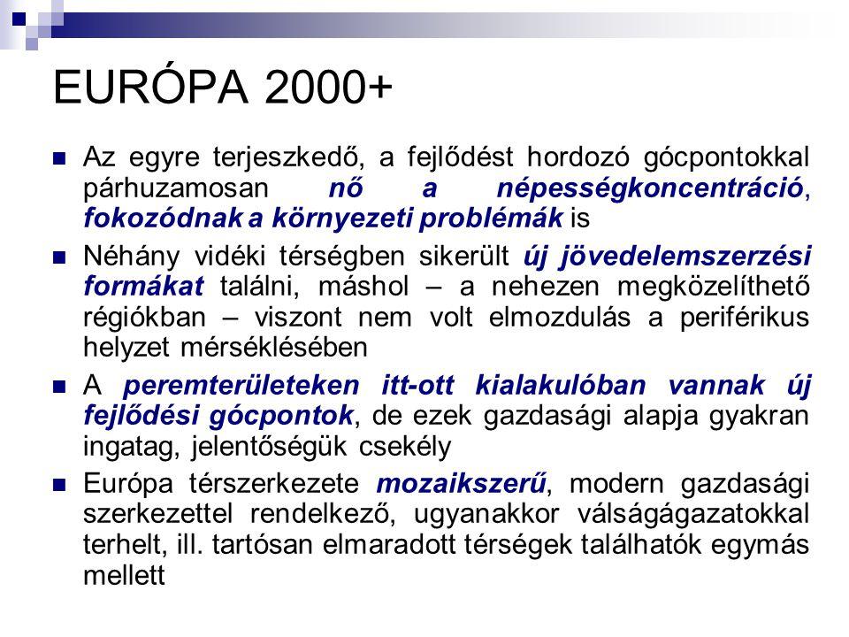 EURÓPA 2000+ Az egyre terjeszkedő, a fejlődést hordozó gócpontokkal párhuzamosan nő a népességkoncentráció, fokozódnak a környezeti problémák is.