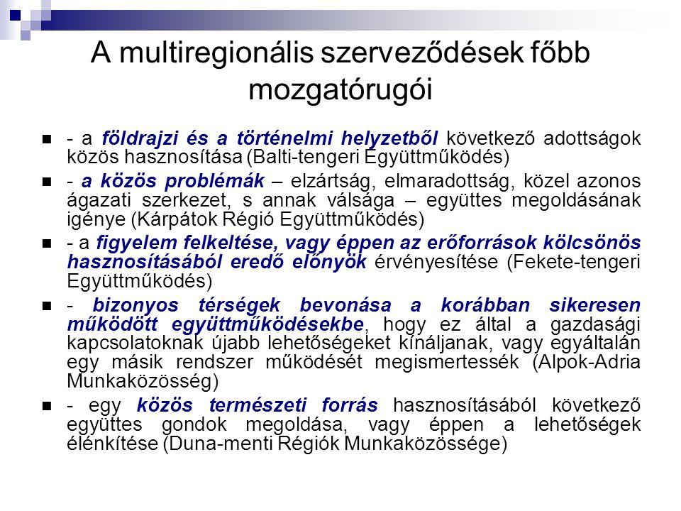 A multiregionális szerveződések főbb mozgatórugói