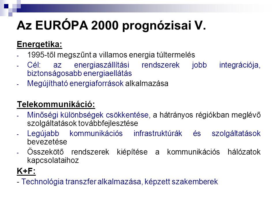 Az EURÓPA 2000 prognózisai V.